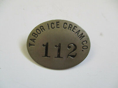vintage 1900 Tabor Ice Cream Co Cleveland Ohio Employee ID Badge Pin
