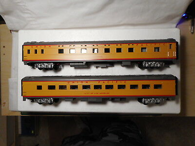O-Scale MTH Union Pacific 2-Car 70' ABS Sleeper Diner Passenger Set - Smooth