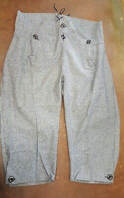 "Broadfall Knee Britches for fur trade re-enactments. Sz. 36"" waist, grey"