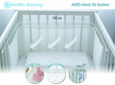 Safe Breathable Bump Air Baby Cot Bed Bumper Aero Mesh 3D - 180cm