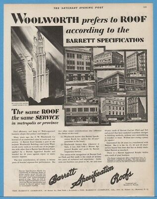 1929 F. W. Woolworth Building Manhattan New York City Store Barrett Co Roof Ad