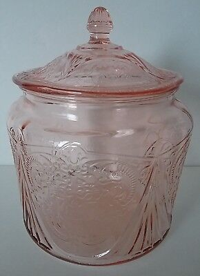 Vintage Royal Lace Pattern Pink Depression Glass Lidded Biscuit Jar