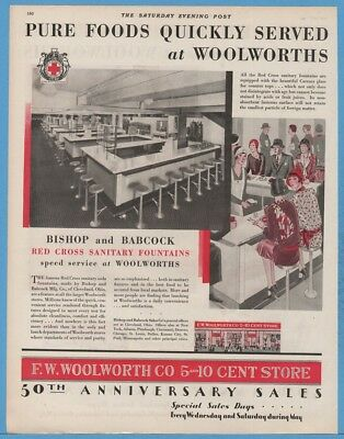 1929 F. W. Woolworth Co 5 and 10 Cent Store Lunch Counter Red Cross Fountain Ad