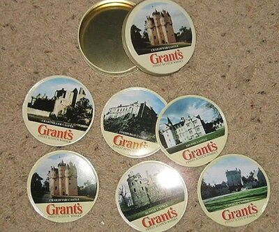 Grant's Finest Scotch Whiskey - Set of six coasters depicting Scottish Castles