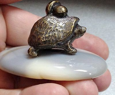 Hedgehog Brass figurine on stand natural stone handmade Souvenirs from Russiа