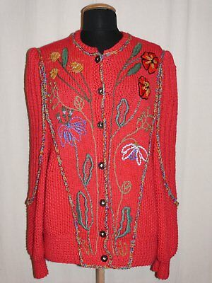 Beautiful Traditional Costume Country Dirndl Cardigan Embroidery Red Handarbeit