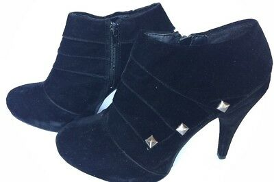 8c788564abc BAMBOO HIGH HEEL Ankle Booties Studded Black Suede Women's Size 9