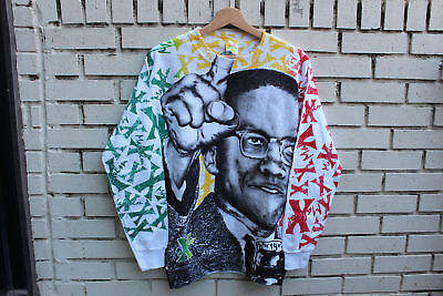 Deadstock Vintage MALCOLM X All-Over Print Sweatshirt Size L Large