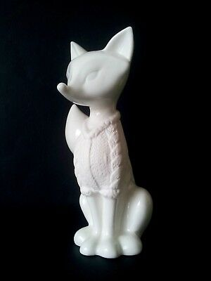 STYLIZED WHITE GLAZED FOX - maker unknown