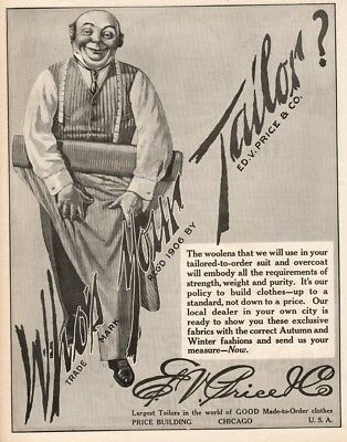 1916 Who s Your Tailor Ed V Price Chicago IL Men s Fashion Clothing Apparel Ad