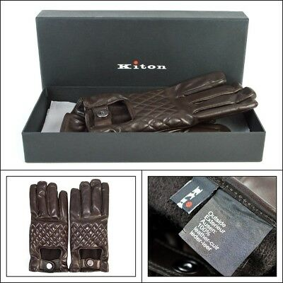 $1295 NIB KITON Italy Brown Leather Cashmere Short Driving Gloves Mens 8 1/2 M