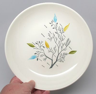Vintage Ovenproof Dinnerware Handpainted Gray Branch with Leaves Cereal Bowl B