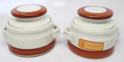Vintage Pair Porcelone Small Bean Pots - SDW - Stoneware Designs West California