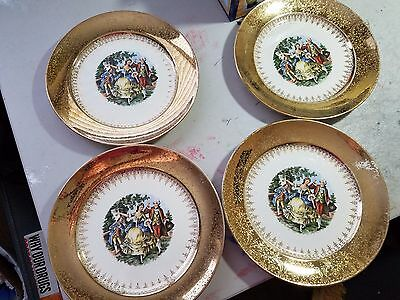 Golden Empress by Stetson Warranted 22 KT. Gold Set of 4 Dinner 10 inch Plates