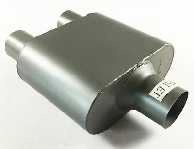 "Single Chamber Race Muffler 2.50"" Dia Center Inlet 2.25"" Dia Dual Outlet 4"" X 9"""