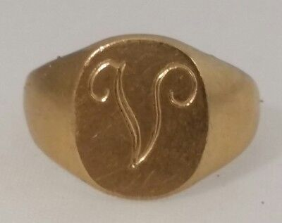 "Young Child Initial ""V"" 10k Gold filled Ring"