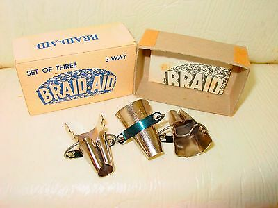 Vintage Braid-Aid 3 Way Table Klamp Braiding Rugs Rugmaking Tools Gift Lot NOS