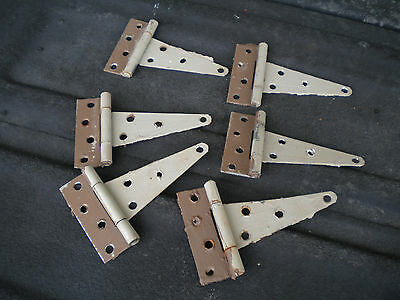 """Collectible Vintage Farm 6"""" T-Straps Barn / Shed Door Hinges Rustic Metal Gate"""