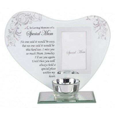 Special Mum Memorial Glass Heart Shaped Plaque Photo Tea T-Lite Candle Holder