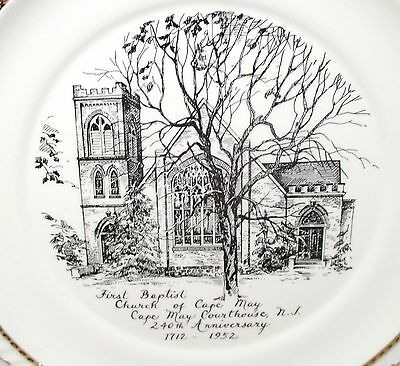 First Baptist Church of Cape May Courthouse NJ 240th Anniversary Plate 1712-1952