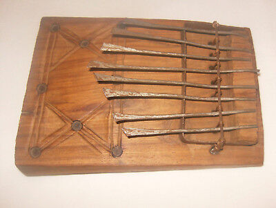 Antique Kalimba or Mira-hand-forged metal and wood musical instrument