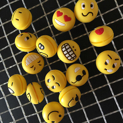 5pcs Cute Emoji Face Tennis Racket Silicone Rubber Shock Vibration Absorber Gift