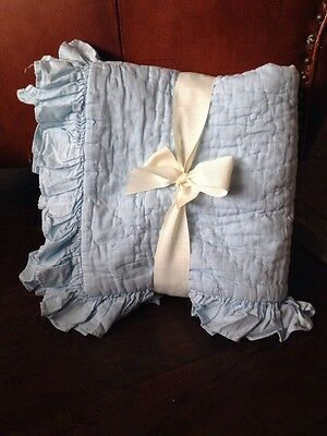 New Pottery Barn Kids The Ruffle Collection Nursery Toddler Crib Quilt BLUE