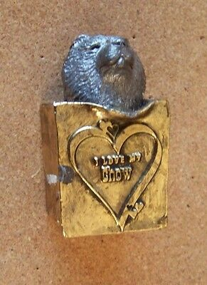 Michael Ricker 1995 pewter I Love My Chow figure Chow in gold tone metal bag