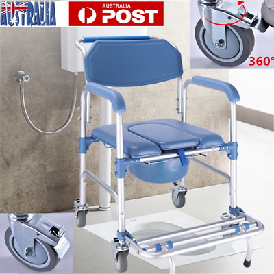 3 in 1 Commode Wheelchair Chair Bedside Mobile Toilet Shower Chair Seat AU