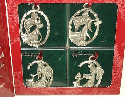 1999 Longaberger Angel Pewter Ornaments set of 4  MIB Made in the USA