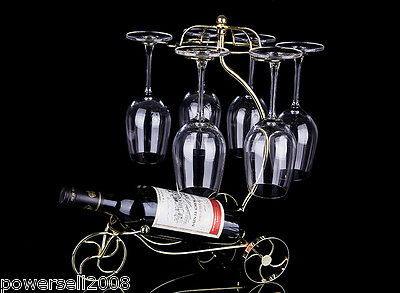 New European Golden Color Decoration Wrought Iron Wine Glass Holder Rack &$
