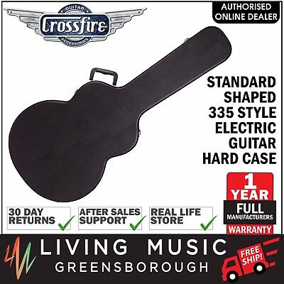 NEW Crossfire 335 Style Electric Guitar Standard Shaped Hard Case (Black)