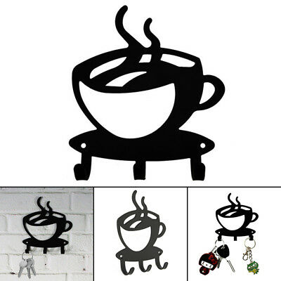 Coffee Cup Shape Wall Mount Metal 3 Hook Key Rack Hanger Organizer Home Decor