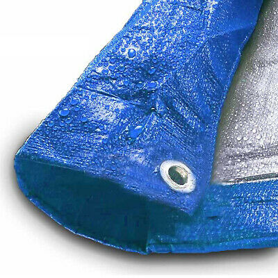 Blue Silver Poly Tarp 5 Mil Water Resistant Outdoor Weather Reversible UV Cover