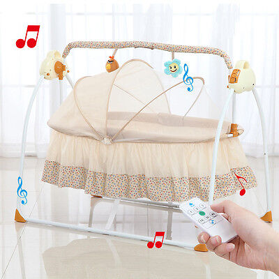 Big Space Electric Baby Crib Portable Infant Rocker Baby Swing Bed Cradle music