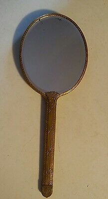 015 Antique Large Hand Held Vanity Mirror Victorian Vintage Brass12.5 Inches