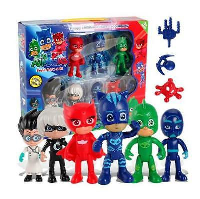 UK 6Pcs Pj Catboy Owlette Gekko Cloak Masks Toy Kids Action Figure Toy Xmas Gift