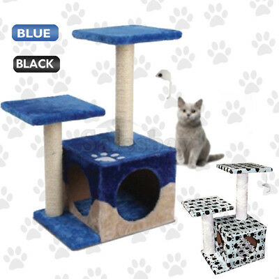 Tailwaggers Double Platform Cat Tree Blue/Black Scratching Post Pole House