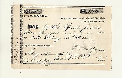 Abell  Family Heirloom   1825   $400 Payment City Of New York