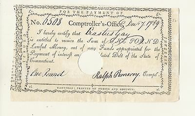 Gay Family Heirloom  1789  One Pound   Connecticut Rare