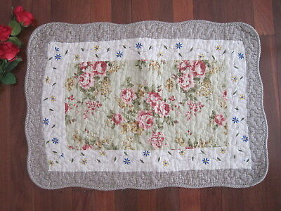 Last @ Shabby Rose Flower Trail Patch Cotton Quilted Mat Rug Floor Runner Green