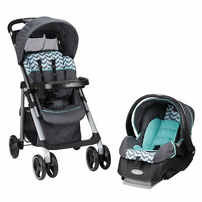 Evenflo Vive Travel System with Embrace Spearmint Spree Green, Black, White