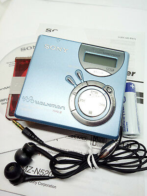 Sony MZ-N520 Net MD Walkman Mini Disc Player Recorder Recording Stereo - SILVER