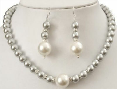 Beautiful New 8-12MM Grey Sea Shell Pearl Necklace + Earring Jewelry Set AAA