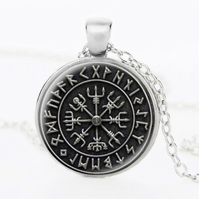 Suteyi Norse Viking Cross In Circle Pendant Jewelry Glass Art Picture Necklace
