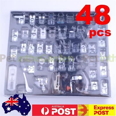 48pcs Domestic Sewing Machine Foot Presser Feet Snap On For Brother Singer