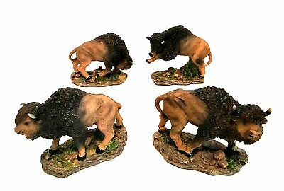 Buffalo Figurines Set of Four American Brown Bison 4.75 inches Long