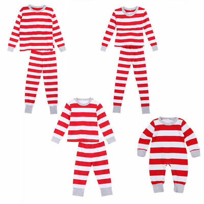 Family Outfits Christmas Clothes cotton Baby Suit Red Stripe  for Girls and Boys