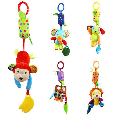 1*Infant Baby Rattle Stroller Car Hanging Crib Teether Ring Bell Toy Plush Doll