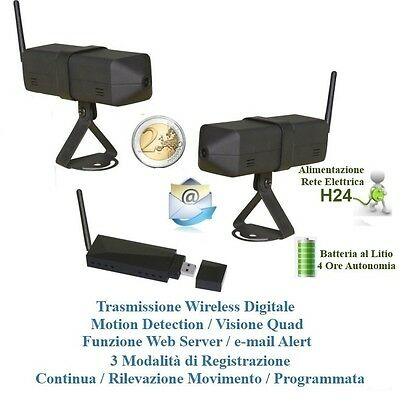 KIT 2 Mini Micro Camere Microcamere Wireless Spia + Ricevitore USB x Pc Windows